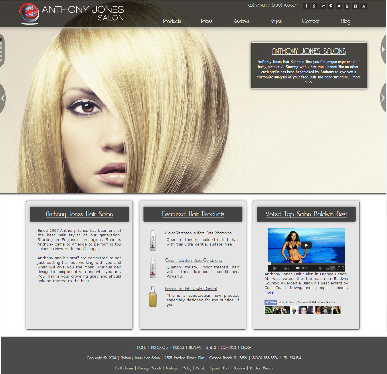 Hair Salon Website Hair Salon Website - Anthony Jones Salon
