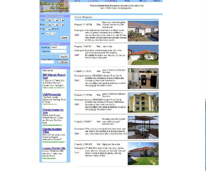 Web site design For Rent By Owner Site - Where To Stay In Florida