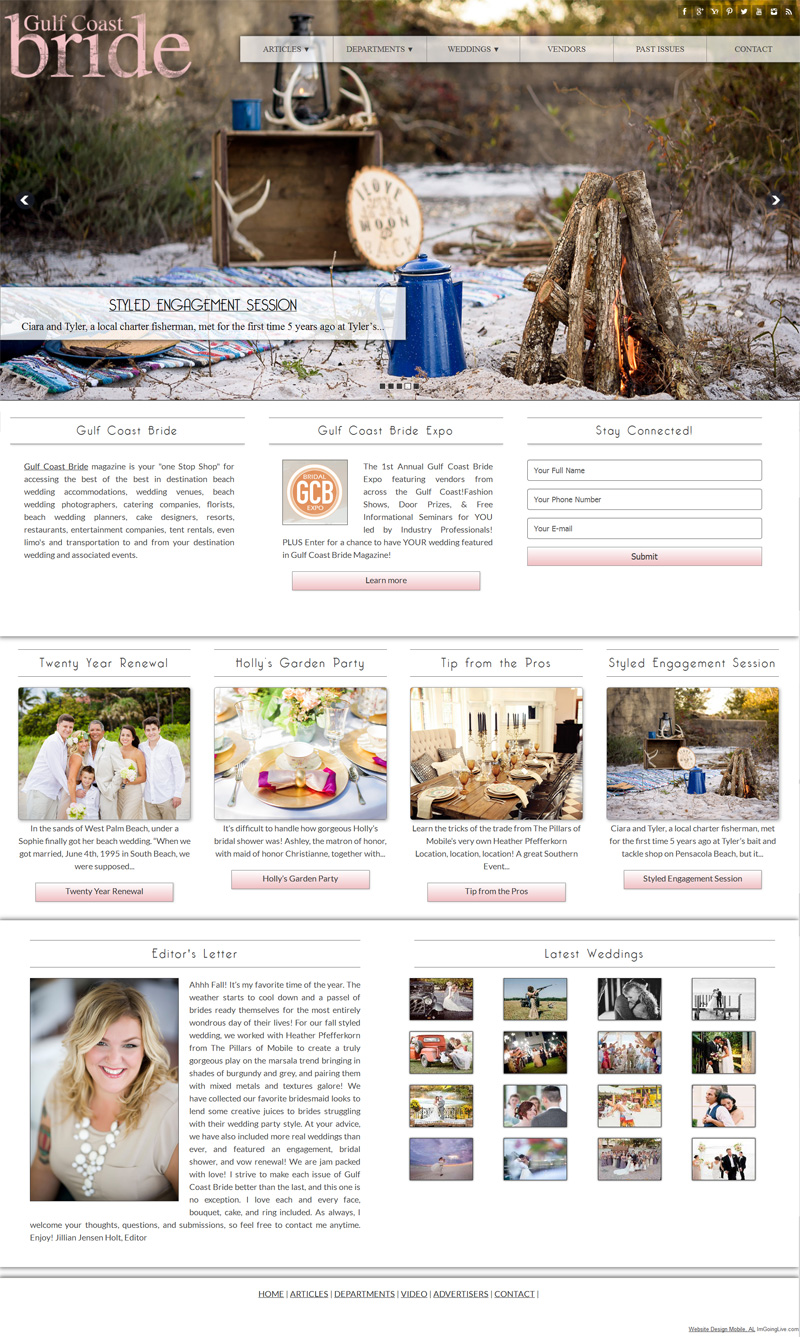 Bridal Website Design Magazine Web Site - Gulf Coast Bride