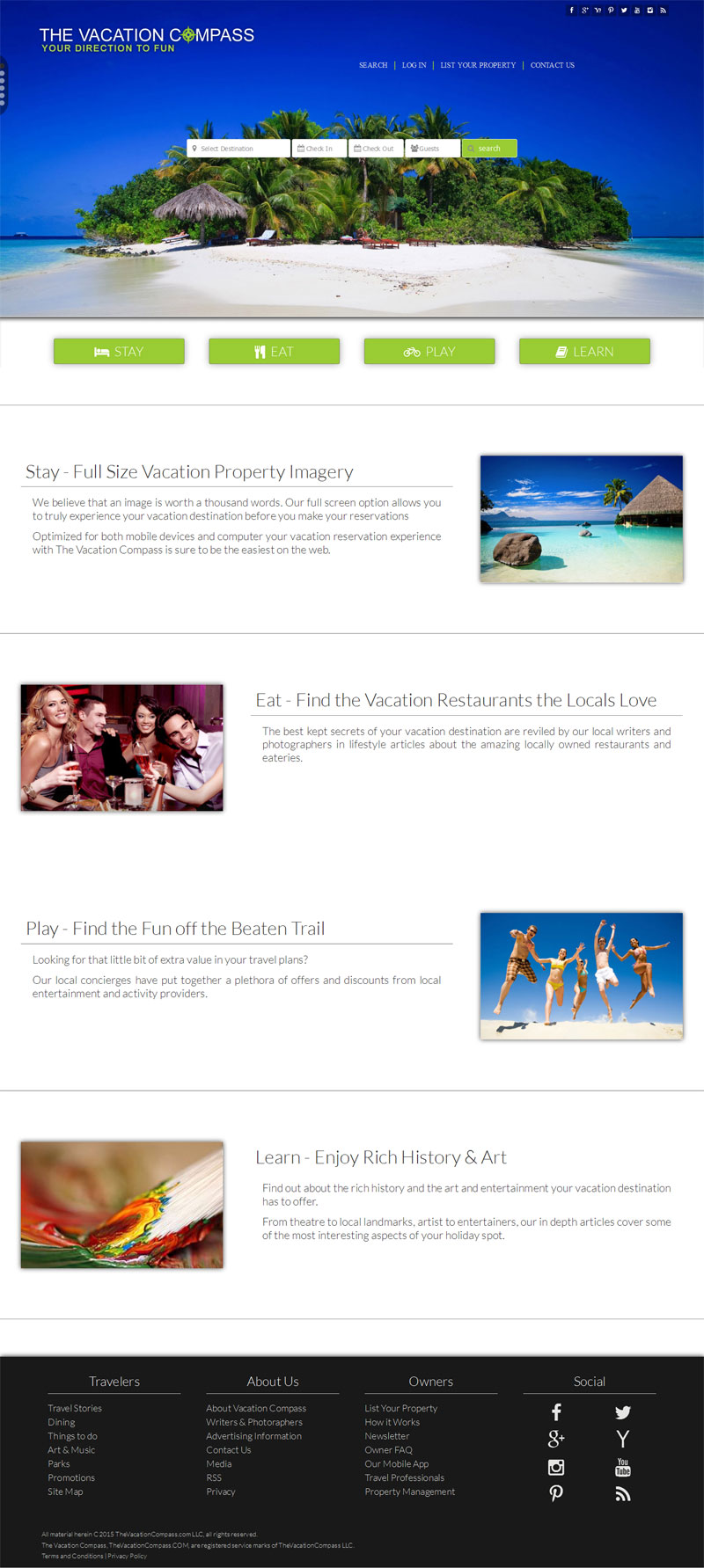 Website design Vacation and Travel Website - The Vacation Compass