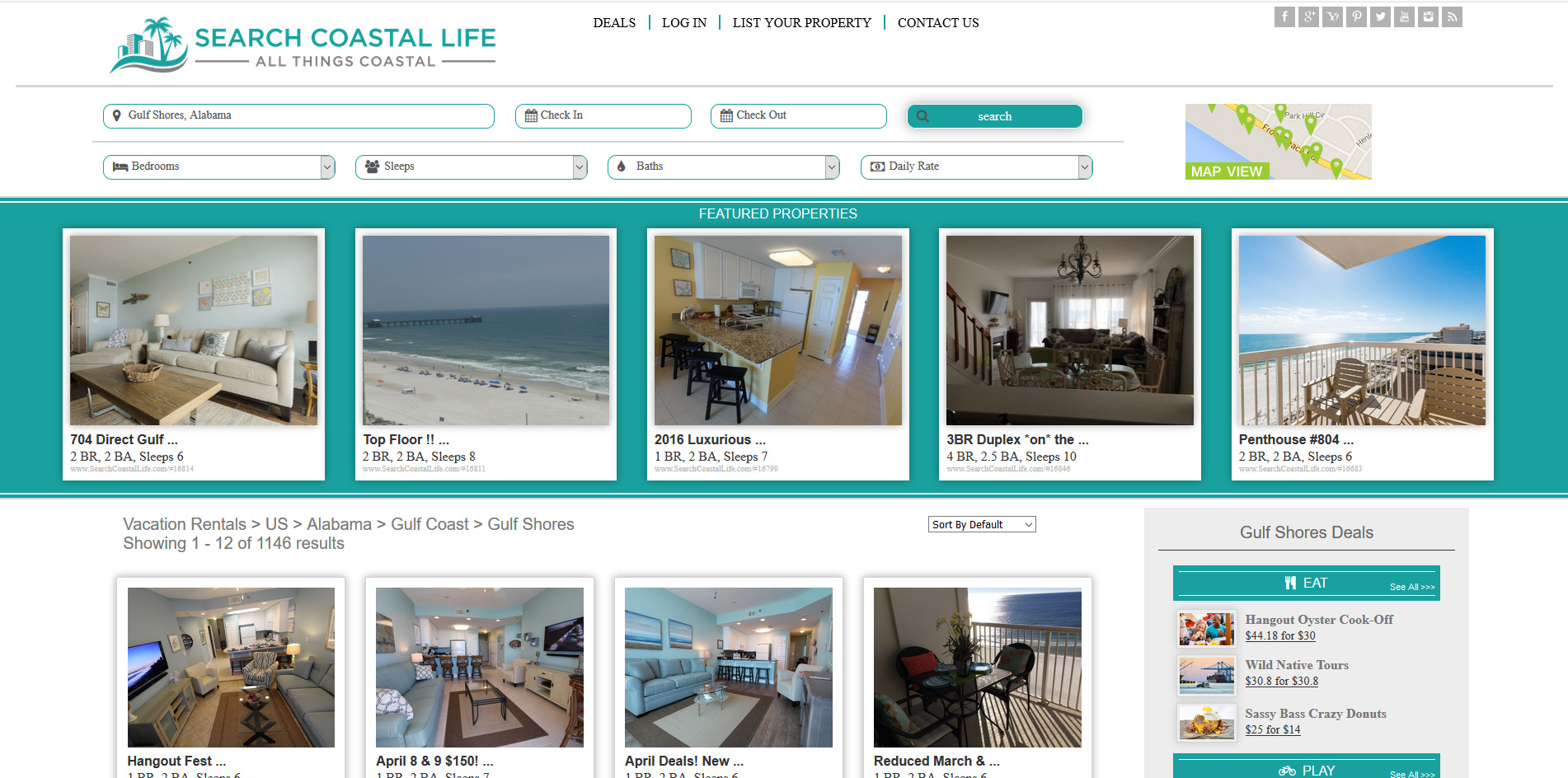 Travel Website Vacation and Travel Website - Search Coastal Life