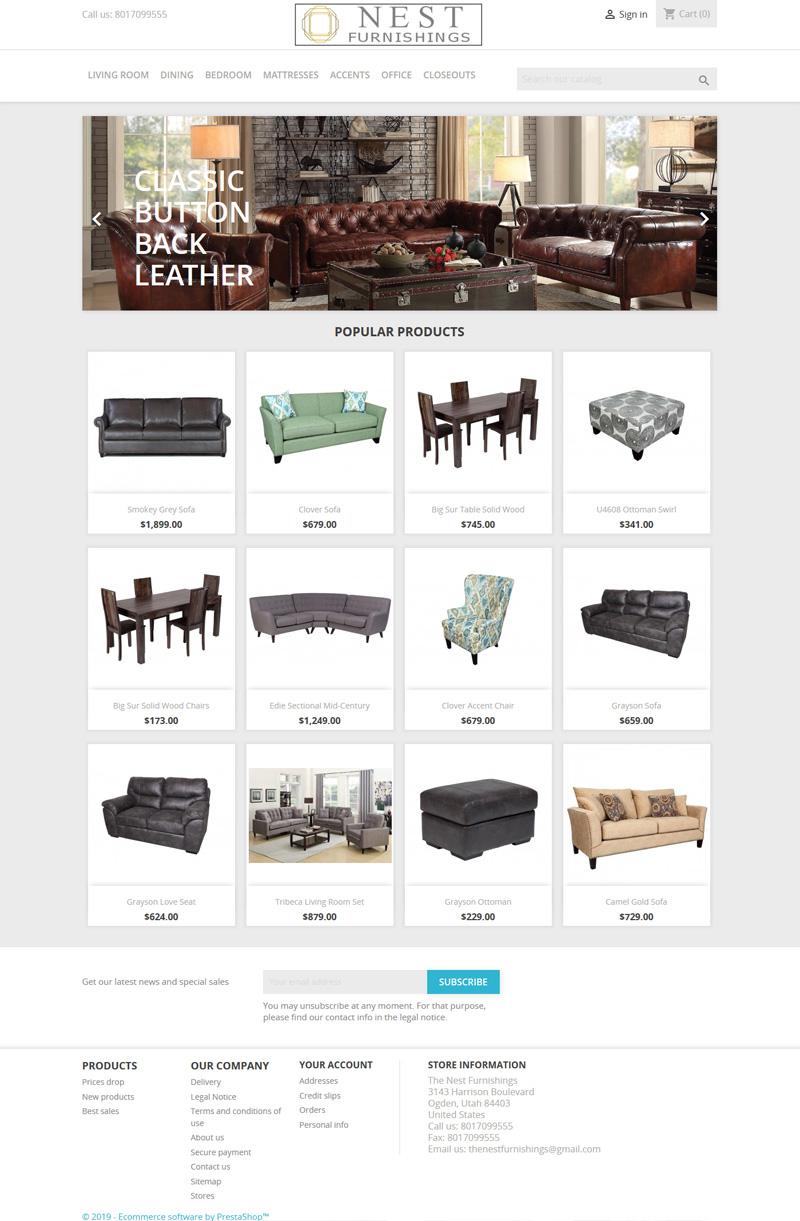Presta Shop Furniturte Store Presta Shop Furniture Store with Custom Data Feeds.